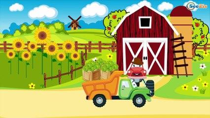 COCHES de juguete Tractores y Camiónes. Dibujo animado de coches para niños