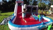 BIG SLIP-N-SLIDE WATERSLIDE + GIANT INFLATABLE TOYS SHARKS on Outdoor Slide Family Fun