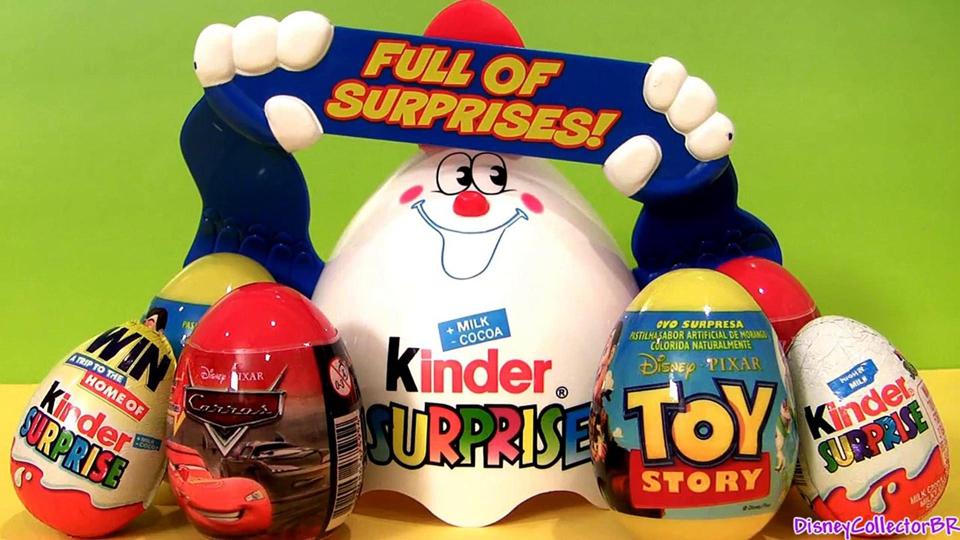 Huge Kinder Egg 4 SURPRISE TOYS Disney Pixar Toy Story CARS Awesome Disney Toys Review