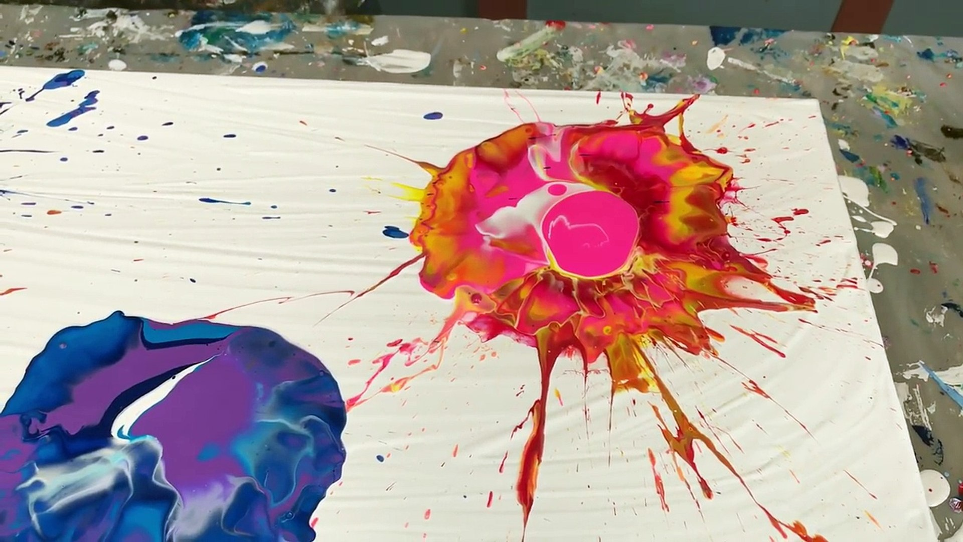 Acrylic Paint Pouring Create Flowers With A Blown Puddle Pour Video Dailymotion