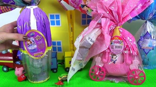 Vovô da Peppa Pig Trouxe Ovos de Páscoa Frozen Princesas Disney e Sofia Toys KInder Surprise Eggs