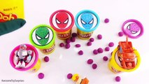 Spiderman Playdoh Tubs Playdoh Dippin Dots Toy Surprises! Learn Colors!