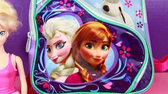 Disney Frozen SURPRISE Backpack Olaf Princess Anna Surprise Egg SHOPKINS Barbie Kelly Toys Opening