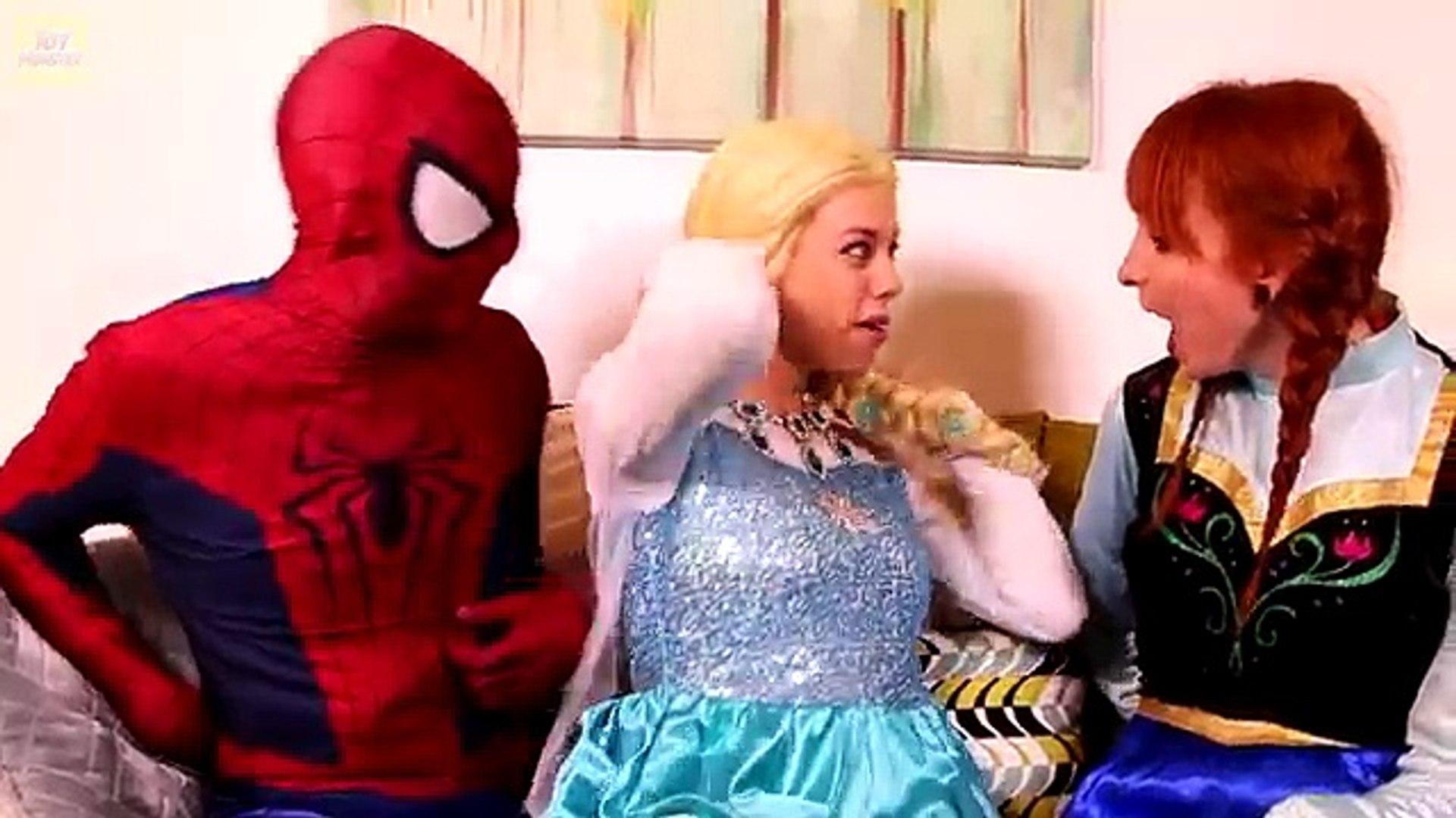 Frozen Elsa TICKLE CHALLENGE w/ Spiderman Anna Joker Spidergirl Surprise Eggs Fun In Real