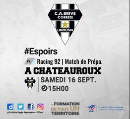Espoirs : bandeau d'annonce du troisième match de préparation vs Racing 92