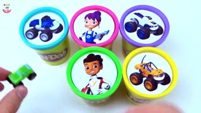 Blaze & The Monster Machines Slime Toys Surprises! Learn Colors, Blaze, AJ, Crusher Race V