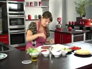 Tortilla d'onglet grillé, sauce salsa