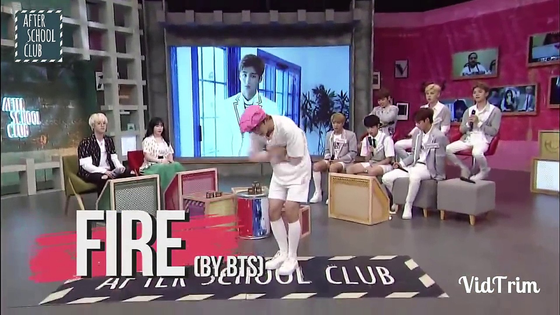 Boy group dancing to other boy group