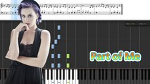 Part of Me Piano (Sheet Music+Cover) __ Katy Perry Lyrics -- Synthesia Piano Tutorial - YouTube