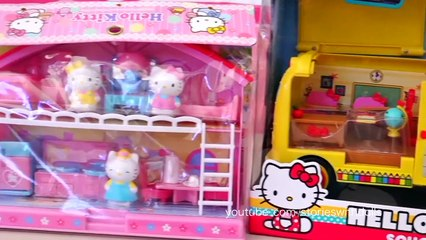 Kitty Goes Poop But Cant Flush the Toilet! - Hello Kitty School and Doll House Playsets Toys Review