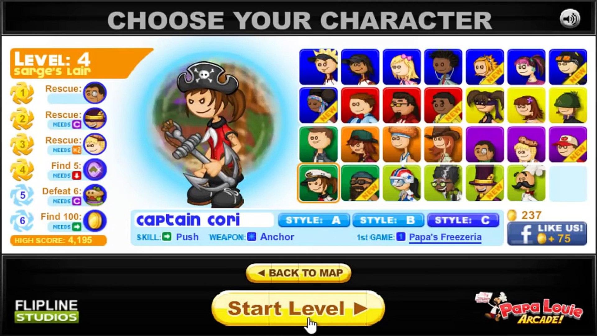 Papa Louie 2 Gameplay/Walkthrough, Captain Cori Collect 100 Coins ...