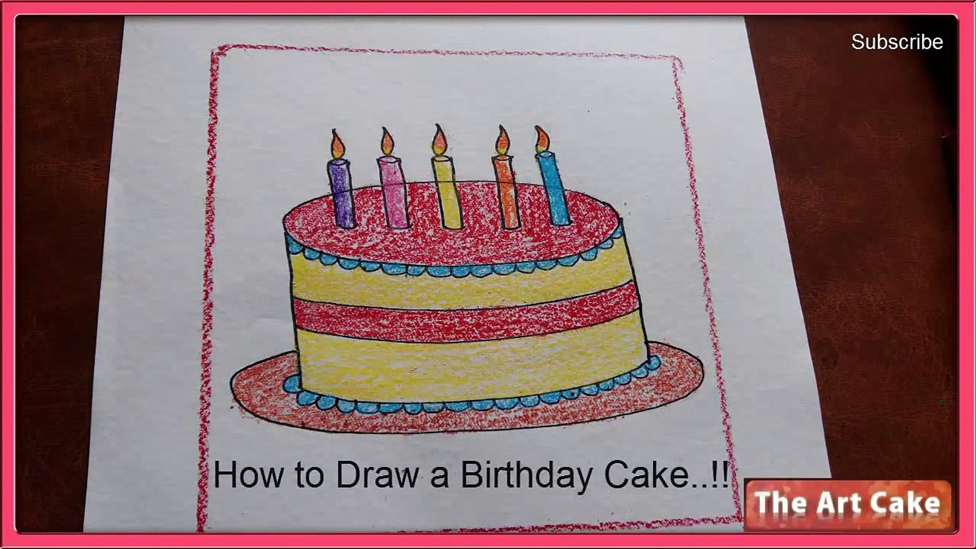 Pleasant How To Draw A Birthday Cake Birthday Cake Drawing For Kids Video Funny Birthday Cards Online Alyptdamsfinfo