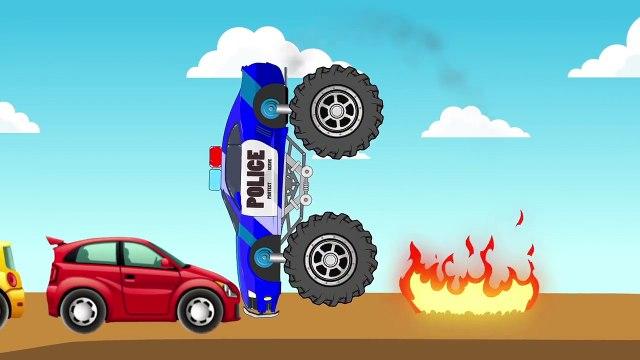 Monster Car Police & Mac Truck Transportation – Fun Race - Learning Videos for Kids Nursery Songs