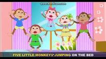 Lit enfants cinq sauteur petit singes garderie sur Rime chansons le le le le la |