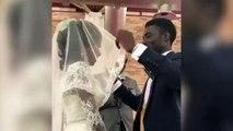La réaction d'un homme qui découvre le visage de sa femme pendant son mariage