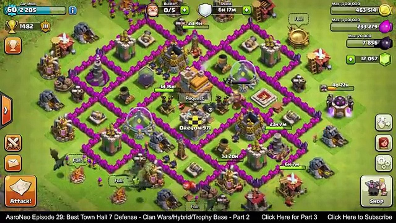 BEST Town Hall Level 7 (TH7) Defense Strategy - Clan Wars/Hybrid/Trophy Base  (Clash of Clans) Part 2 - video dailymotion