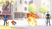 Ash pokemon vs Cat Noir Miraculous Ladybug batalha pokemon Pikachu Charizard vs Dragonite totoykids