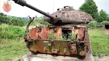 Abandoned Tanks WW2 In The Woods. Abandoned Military Vehicles In Forest. Old Rusty Tank Wrecks
