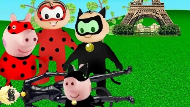 Turma da Monica Cebolinha Peppa e George Pig se fantasiam de miraculous ladybug e encontra hawk moth