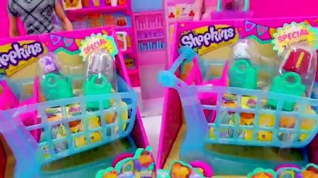 Shopkins Season 3 LARGE SHOPPING CART + 4 Exclusive Shopkins with Barbie Dolls Cookieswirlc Video