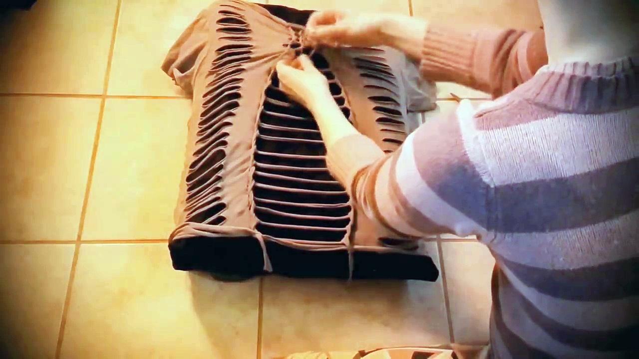 ✂️ Cut T-Shirt DIY Tutorial no-sew ★ t-shirt weaving t-shirt cutting