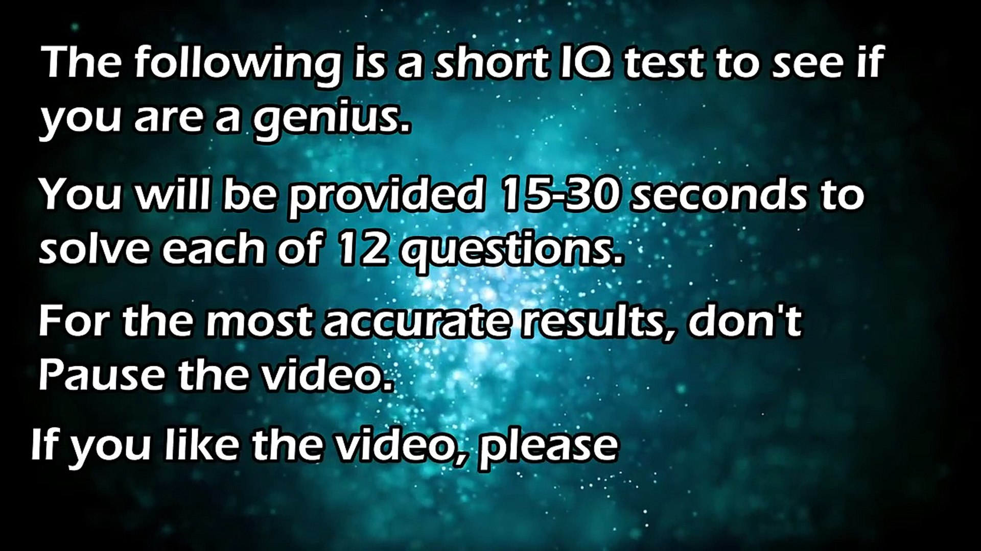 Genius IQ Test: 12 Questions