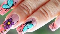 Decoracion de uñas mariposas y flores facil - Butterfly and flower nail art