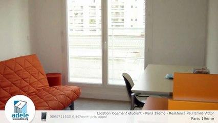 Location logement étudiant - Paris 19ème - Résidence Paul Emile Victor