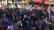 Les images des tensions entre militants Insoumis et black blocs avant le discours de Jean-Luc Mélenchon