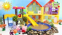 Peppa Pig Muddy Puddles Sliding ♥Toy Episode♥ Fun Toy Playsets for Baby & Toddler