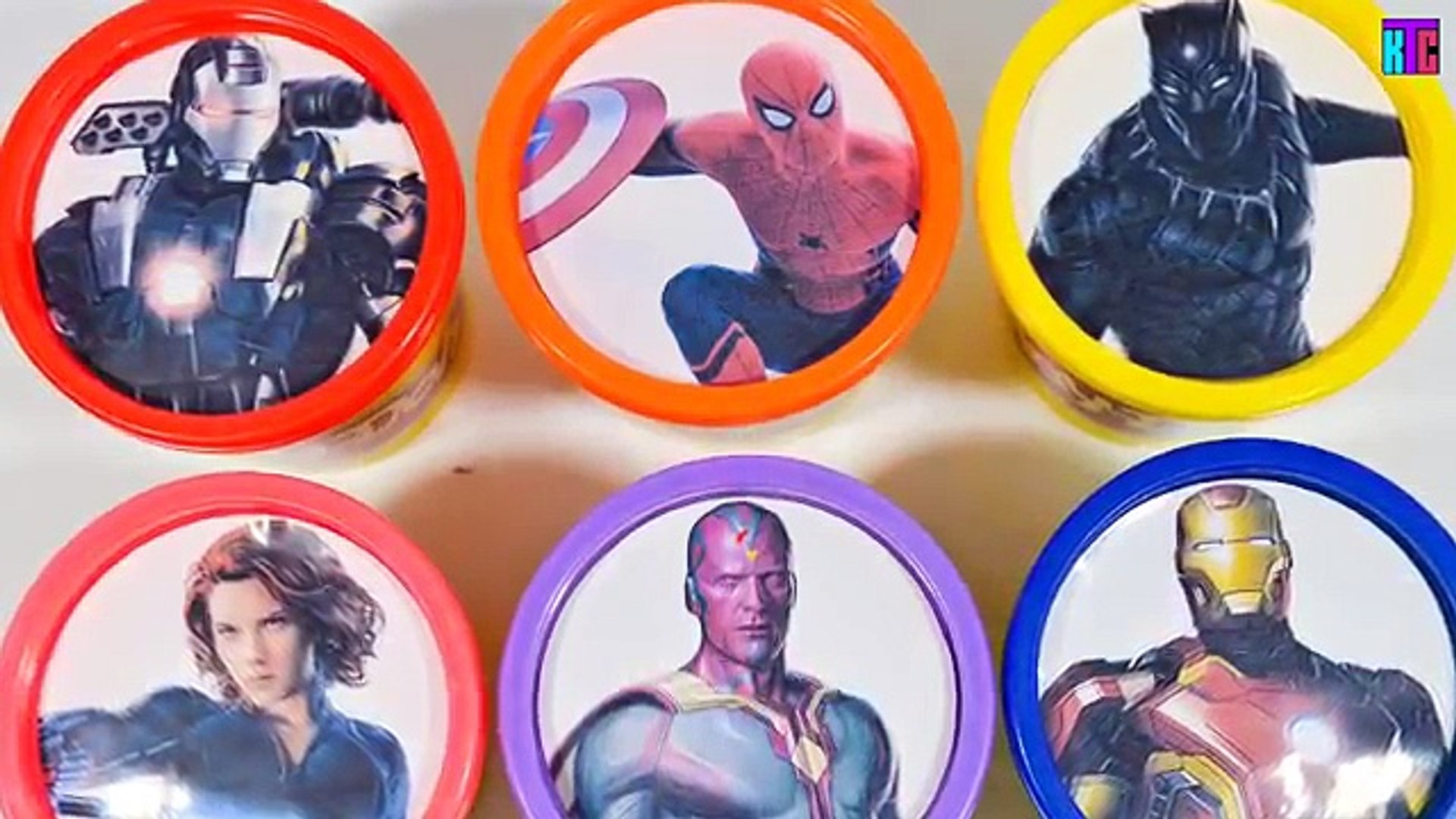 Marvels Captain America Civil: War Play Doh Cans Team Iron Man Learn Colors Marvel Toy Surprises