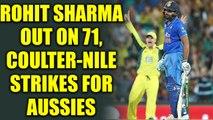 India vs Australia 3rd ODI : Rohit Sharma dismissed for 71 runs, Coulter-Nile strikes |Oneindia News