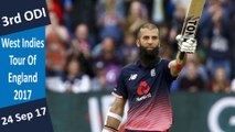 England vs West Indies | 3rd ODI | 24 Sep 2017 | Moeen Ali Smashed 2nd Fastest ODI Ton | Highlights