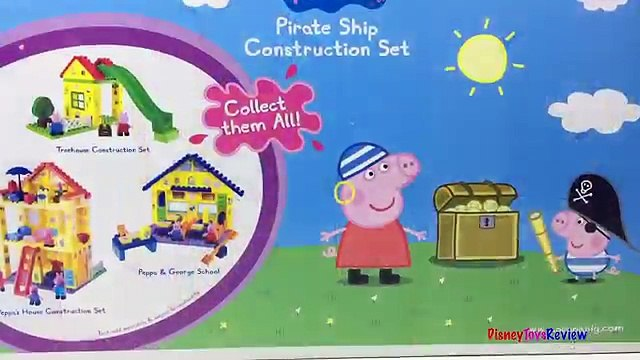 PEPPA PIG PIRATE SHIP CONSTRUCTION SET WITH PEPPA PIG PIRATE & GEORGE - STOP MOTION - UNBOXING