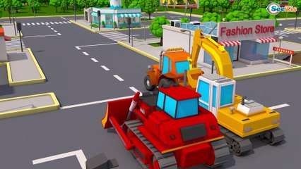 Bulldozer & Giant Excavato Real Diggers Construction Vehicles 3D Kids Cartoon Cars & Trucks Stories