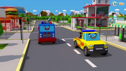 Car Kids Cartoon with Fire Truck & Giant Trucks in the Big City Children Video Cars & Trucks Stories
