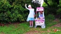 Kids Kitchen 4 - Frozen Elsa & Anna vs Kid Cops, Ice Cream Velcro Food & Toy Kitchen Pretend Cooking
