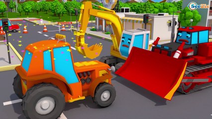 The Yellow Excavator & Giant Red Truck - Construction Trucks - 3D Kids Cartoon Cars & Trucks Stories