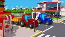 Trator e o Caminhão com Plataforma JOGOS NA CIDADE | Desenhos animados de Tratores