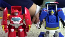 Transformers Rescue Bots Toy UNBOXING: Chase Police-bot Heatwave Fire-bot kids playing