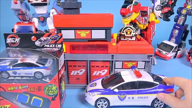 Fire Station cars 헬로카봇 과 월드카파워키 타요 폴리 소방본부놀이 Ambulance Fire Truck Power Key car toys