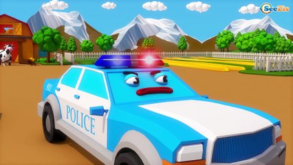 Learn Colors with Little Trucks and Police Car Emergency Cars & Trucks for Children and Toddlers