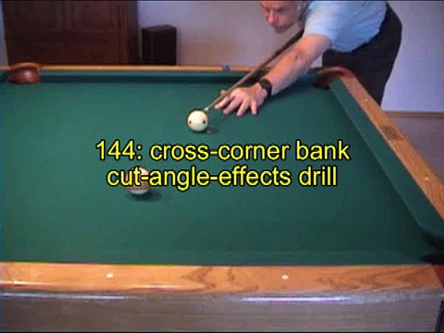 Pool and billiards bank shot drill for learning cut-angle effects, from  VEPP IV (NV C 14)