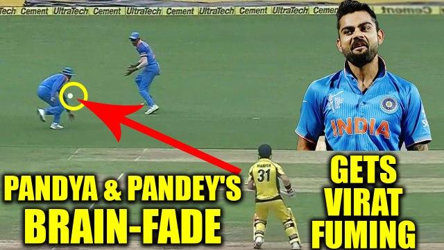Indian skipper Virat Kohli was seemingly fuming after Hardik Pandya & Pandey's fielding brain-fade. Pandya and Manish Pa