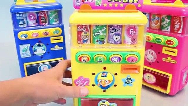 Vending Machine Toy Poli Pororo Drink Playset Toys 뽀로로 폴리 음료수 자판기 와 타요 장난감 Пороро Игрушки