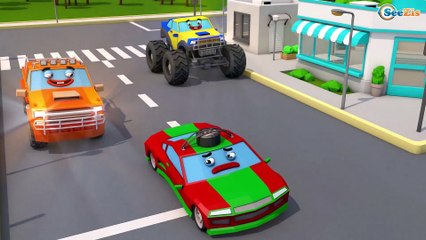 Caminhões em apuros - A máquina mal na cidade - Video para criançinhas - Desenhos animados crianças