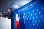 Conférence de presse du Président de la République, Emmanuel Macron, lors du sommet du numérique à Tallinn, Estonie