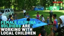 Female Filipina Soldiers Play With Kids To Fight Radicalization