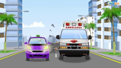 White Ambulance Car Rescue in the City w Police Car - Educational Learning Videos for Kids