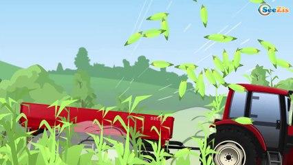 El Tractor y La Excavadora para bebés y niños - Camiones grandes en la ciudad - Colores en Español